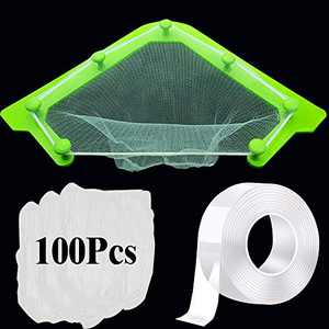 Fesino Kitchen Sink Strainer Set with 100 Pcs Meal Residue Fine Water Filter Mesh Bag for Kitchen Sinks Corner (1 holder +100 filter bag)