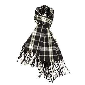 Lingso Plaid Scarfs for Women, Winter Warm Tartan Blanket Scarf Ladies Long Wraps Anti-pilling Shawl (S plaid scarf black)