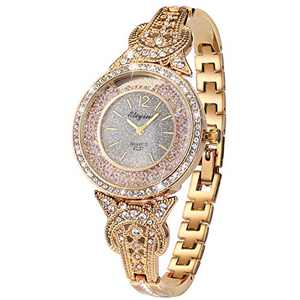 Lady Women Wrist Watch Gold Stainless Steel Crystal SIBOSUN Quartz Dress Bling Bracelet (4 Light Gold)