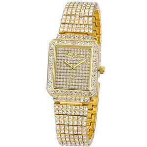 Ladies Watch Luxury Women Watch Crystal Rhinestone Diamond Watches Quartz Stainless Steel Strap Wristwatch Square Dial Wrist Watches for Women Girl(Gold)