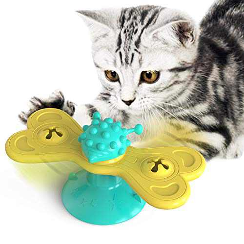 Cat Turntable Toys Kitten Toy Cats Supply Interactive Kitty Spinning Butterfly Shaped Windmill Rotate Suction Teasing Toy Scratch Teeth Cleaning (Turquoise+Yellow)