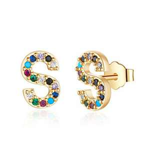Letter Initial Stud Earrings for Girls, S925 Sterling Silver Post Gold Plated Letter S Earrings Stud Colored Cubic Zirconia Hypoallergenic Earrings for Sensitive Ears, Gift Jewelry for Women Girls