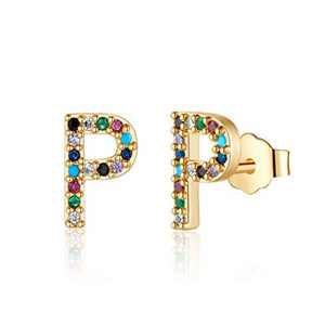 Letter Initial Stud Earrings for Girls, S925 Sterling Silver Post Gold Plated Letter P Earrings Stud Colored Cubic Zirconia Hypoallergenic Earrings for Sensitive Ears, Gift Jewelry for Women Girls