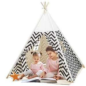 Kids Teepee Tent with Playmat for Boys and Girls Kids Playhouse for Indoor & Outdoor White Stripes Pattern Playroom Decor Tipi Tepee