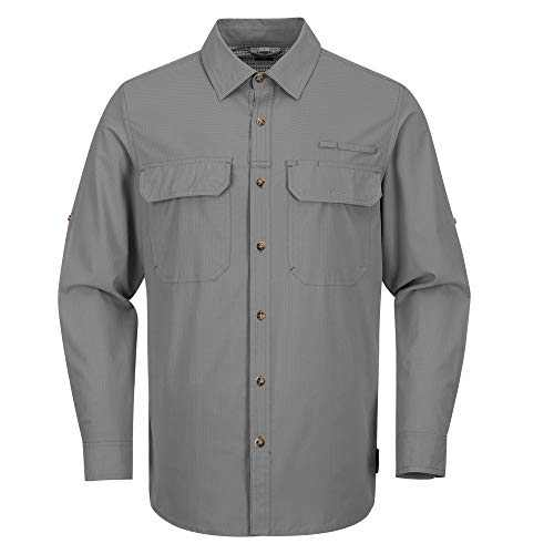33,000ft Men's Long Sleeve Shirt UPF 50+ Fishing Shirt Sun Protection Water Resistant Breathable for Hiking Grey
