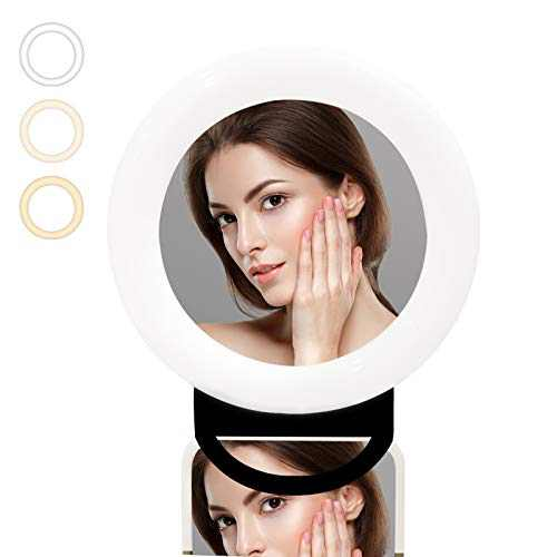EEOUK Selfie Ring Light for iPhone with Make Up Mirror Portable LED Round Light with USB Charging Port