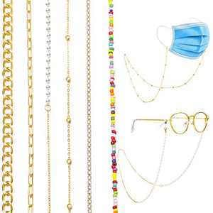 17 MILE 6 PCS Eyeglass Chain Holder, Glasses Chain Lanyard for Women Girls, Gold Plated Hanging Chain Link Necklace Set Anti-Lost Around Neck