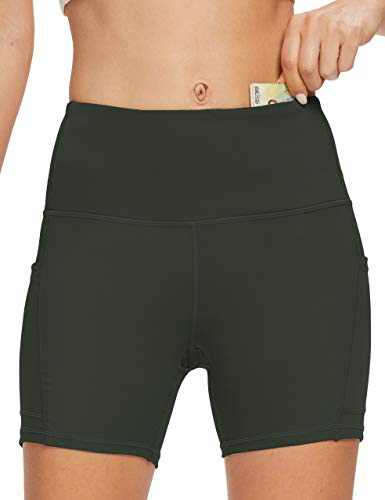OXZNO Women's High Waist Workout Shorts Non See-Through Yoga Biker Athletic Shorts with Pockets for Women(P-Navy,XL)