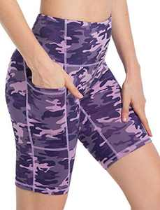 High Waisted Workout Shorts for Women Tommy Control Biker Running Yoga Shorts with Pockets for Women(PurplePinkCamo,XL)