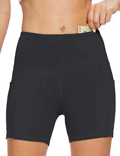 OXZNO Women's High Waist Workout Shorts Non See-Through Yoga Biker Athletic Shorts with Pockets for Women(P-DG,S)