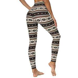 HIGHDAYS High Waisted Leggings for Women - Soft Opaque Slim Printed Pants for Running Cycling Yoga (Christmas Black Snow, XX-Large)