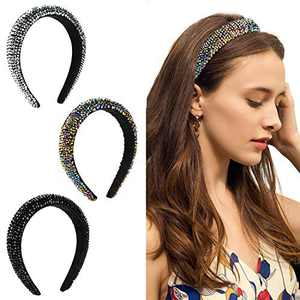 PANTIDE 3 Pieces Rhinestone Crystal Padded Headband for Women Girls- Glitter Bejeweled Diamond Bead Hairband, Non-Slip Widened Hair Hoops for Party Head Accessories in 3 colors(Silver, Rainbow, Black)