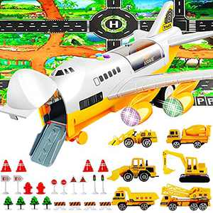 Airplane Toy, Toy Trucks, Transport Airplane, New Upgraded Larger Play Mat 39.3X52 Inch and 22 More Road Signs, 6 Construction Trucks, Toys for 3 4 5 6 7 8 Years Old Boys