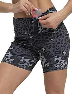 OXZNO Women's High Waist Workout Shorts Non See-Through Yoga Biker Athletic Shorts with Pockets for Women(PurplePinkCamo,L)