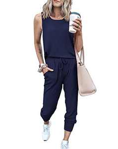 PRETTYGARDEN Women's Two Piece Outfit Sleeveless Crewneck Tops With Sweatpants Active Tracksuit Lounge Wear With Pockets (Navy, Small)