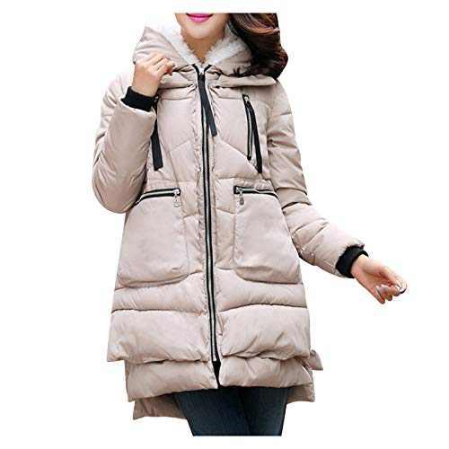 DRAGONHOO Women Coats Thickening Cotton Coat Large Size Women Clothing Clothes Outerwear Khaki