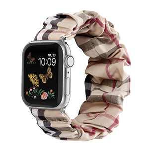 Compatible for Scrunchie Apple Watch Band 38mm 42mm 40mm 44mm Cute Print Elastic Watch Bands Women Bracelet Strap Compatible for Apple Watch SE iWatch Series 6 5 4 3 2 1(White Grid, 42/44mm-Small)