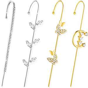 4 Pieces Ear Cuff Wrap Crawler Hook Earring Alloy Rhinestone Ear Climbers Piercing Ear Jewelry for Valentine, Gold and Silver (Chic Style)