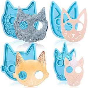 4 Pieces Keychain Silicone Finger Resin Mold Animal Shape Keychain Mould Cat Owl Unicorn Keychain Pendants Jewelry Making Epoxy Casting Mold