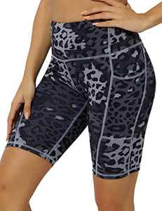 "8"" High Waist Workout Biker Yoga Shorts Athletic Running Tummy Control Short Pants with 3 Pockets for Women Deep Grey Leopard-M"