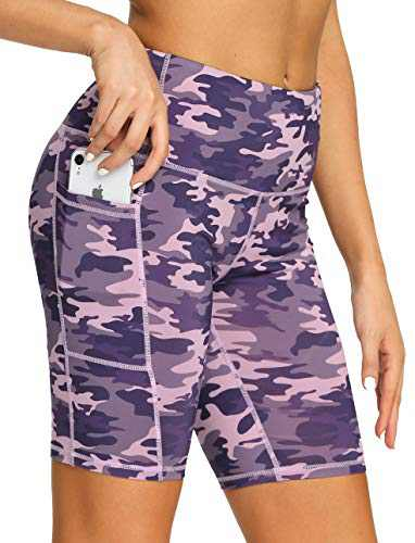 """8"""" High Waist Workout Biker Yoga Shorts Athletic Running Tummy Control Short Pants with 3 Pockets for Women Pink Purple Camo-M"""