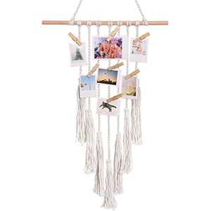 LE TAUCI Hanging Photo Display, Macrame Wall Hanging Pictures Decoration, Boho Decor Chic Home for College Bedroom Living Room Apartment Gallery, with 10 Wood Clips, 1 Pack, Ivory