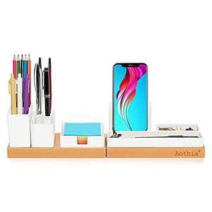 Aothia Desk Organizer, Office Accessories Storage with Adjustable Magnetic Pencil Cup, Pen Holder, Phone Stand, Sticky Note Tray, School Supplies Caddy, Desktop Organization for Home/Office/Dorm