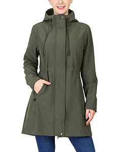 33,000ft Women's Softshell Long Jacket with Hood Fleece Lined Windproof Warm up Waterproof Windbreaker Olive Green