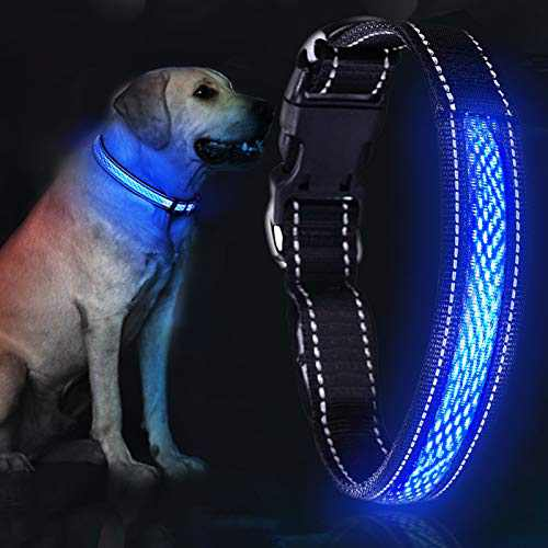 """YoYabon LED Dog Collar 12.2-24.4"""" Rechargeable Lighted Dog Collar Adjustable 3 Flashing Modes 10 Hours Working Time Dog Reflective Safety Collar for Small Medium Large Dogs-L (Dog Collar-M)"""