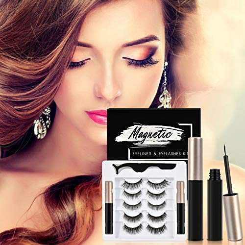 Magnetic eyelashes with eyeliner,Beevila False Eyelashes Upgraded 5D Magnetic Eyeliner and Eyelashes Kit, fake eyelashes 5 Pairs with Tweezers, Easy to Wear,No glue!