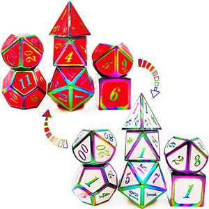 HAOMEJA Color Changing Temperature Metal DND dice kit, D&D dice Set Role Playing Dice Dungeons and Dragons red Transition White