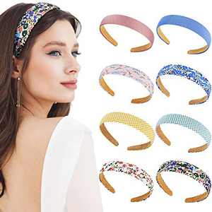 8 Pieces Fabric Plain Headbands Satin Flower Headbands 2.5 cm Ribbon Non-slip Wide Hairband Elastic Plastic Colorful DIY Headbands for Women and Girls, 8 Colors