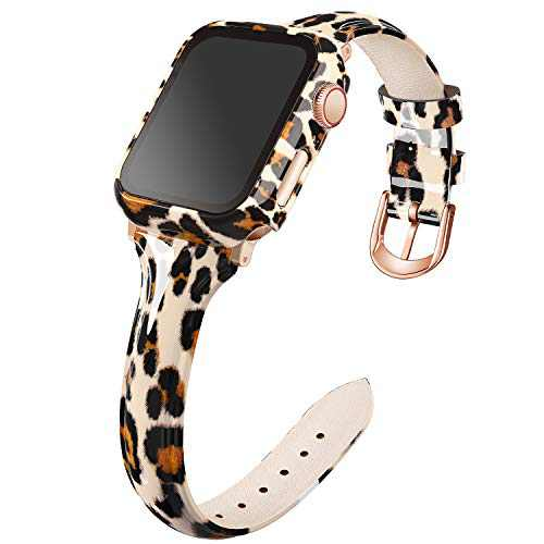 Recoppa Compatible for Apple Watch Bands 44mm, Slim Leather Apple Bands with Leopard Floral Printing Tempered Glass Screen Protector Case, for iWatch Series Se/6/5/4, Classic Leopard Strap with Case