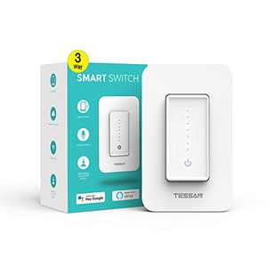 3 Way Smart Dimmer Switch, TESSAN WiFi Light Switch Work with Alexa and Google Home, Dimmable Wall Switch for LED Lights Programmable Timer Schedule Wireless Remote Control, Neutral Wire Required