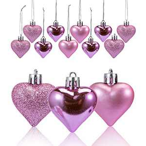 Adeeing 36Pcs Valentine Decorations Heart Shaped Ornaments Hanging Baubles for Valentine Tree Romantic Valentine's Day Decor for Home Party (Pink)