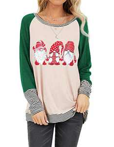 Christmas Plaid Shirt Women Funny Graphic T-Shirt Gnomes Tee Splicing Baseball Tops Holiday Clothes (Green 1, XXL)