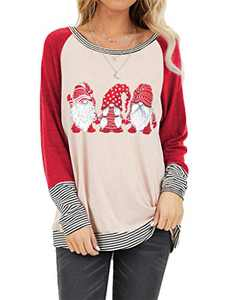 Christmas Plaid Shirt Women Funny Graphic T-Shirt Gnomes Tee Splicing Baseball Tops Holiday Clothes (Red, XXL)