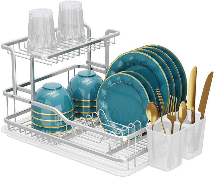 SMHOUSE Aluminum Dish Drying Rack, Counter Rustproof Dish Storage with Cutlery Holder, Removable Drainer Tray, Silver (Silver, 2tier)