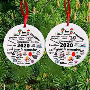 2PCS Christmas Ornaments 2020 Commemorative Plates Ornament Christmas Decorations Ceramics Xmas Tree Hanging Decor -A Year to Remember -one Side