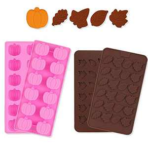 4PCS Silicone Molds Pumpkin Candy Molds Thanksgiving Christmas Leaf Shaped Chocolate Mold Silicone Baking Molds for Making Fondant Cake, Muffins, Cake, Candle, Christmas Candy