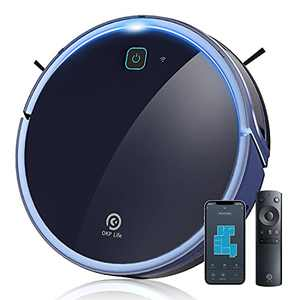 Robot Vacuum Cleaner Zigzag Clean Pattern 600ml Large Dustbin Robotic Vacuum Cleaner, App Control Wi-Fi Connectivity Works with Alexa, Self-Charging Robovac for Pet Hair Floor and Carpets