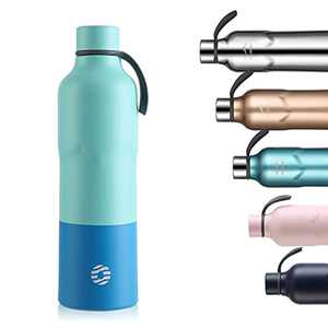 FEIJIAN Vacuum Insulated Water Bottle Stainless Steel Drinks Bottles double-walled reusable Thermo Flask 600ml with carabiner for sport, work, School,Running and travel (Green & Blue)
