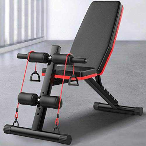 【2 to 5 Day Delivered】 Adjustable Weight Bench for Full Body Workout Multi-Purpose Utility Weight Bench with Fitness Band Foldable Flat Bench Press for Home Gym Max Load 660Lbs