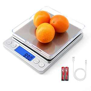 Digital Kitchen Scales,Food Scales,0.01g Electronic Scale,Stainless Steel and LCD Display,Tare and Pcs Features,Silver,(+g, ct, DWT, ozt, oz, gn)