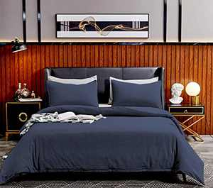 SORMAG Duvet Cover King Size 3 Piece, 100% Washed Cotton Comforter Cover, 800 Thread Count Solid Color and Ultra Soft with Zipper Closure, Corner Ties, Simple Bedding Style, Navy