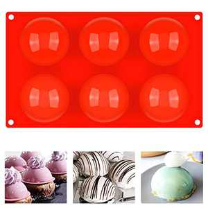 Half Circle Silicone Mold for Hot Chocolate Bomb, 2.8 Inch Semi Sphere Baking Molds 6-Cavity