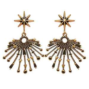 Al&Tiffy Gold Earrings For Woman Dangle, the Eight-pointed Star Gold Earring Dangly for Woman and Girl, 925 sterling Silver Post Statement Starburst Earrings For Wedding, Holiday