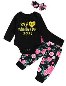 My First Valentine's Day Outfit Set Baby Girls 1st Valentine's Day Romper (Black, 6-12 Monthhs)