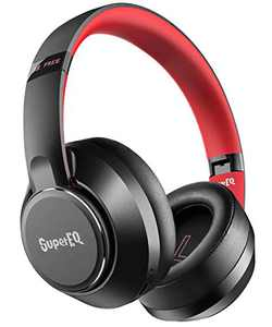 Hybrid Active Noise Cancelling Headphones-SuperEQ S1 Bluetooth 5.0 Over Ear Wireless Wired Headset with Ambient Mode, 45H Playtime, Hi-Fi Deep Bass, Memory Foam Earpads for Travel Home Office (Black)