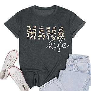 Mom Shirts for Women Funny Mama Life Saying Letter Print Tshirt Casual Short Sleeve Tee Tops Grey